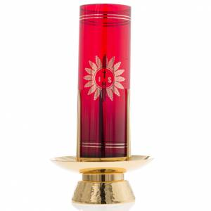 Sanctuary lamps and candles: Foot for Blessed Sacrament glass, gold-plated brass