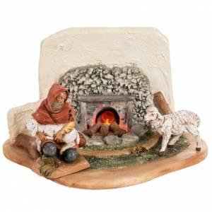 Hornos y fogatas para el belén: Fuego eléctrico con pastor y ovejas para pesebre 12cm