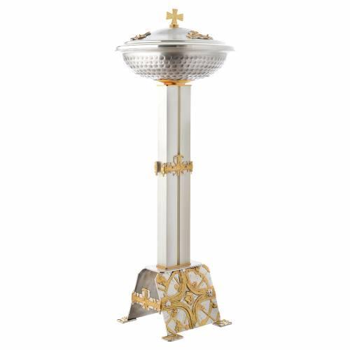 Fuente bautismal de bronce dorado y plateado s2