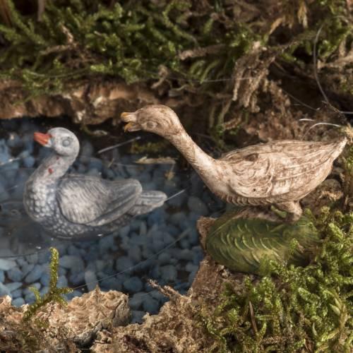 Gallo con anatre nel laghetto presepe 8-10 cm s3