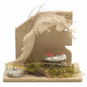 Essen Miniaturen: Geschaeft von Obst und Gemuese mit Vorbau fuer Krippe