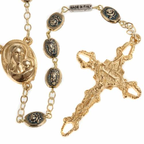 Ghirelli golden rosary with roses 9mm s1