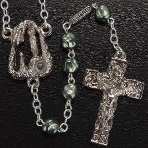 Ghirelli outlet rosary beads: Ghirelli green rosary Lourdes Grotto, opaque glass 6mm