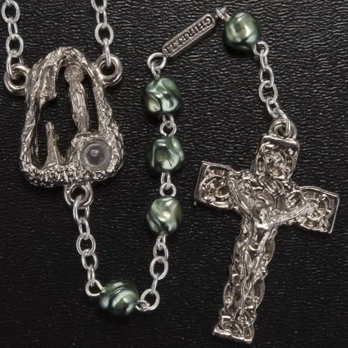 Ghirelli green rosary Lourdes Grotto, opaque glass 6mm s2