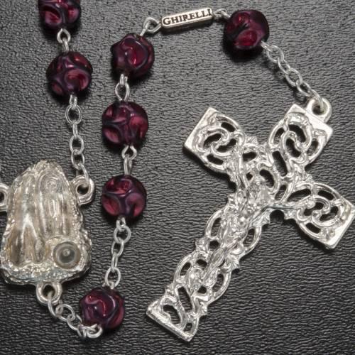 Ghirelli rosary Lourdes Grotto, maroon 8mm s2