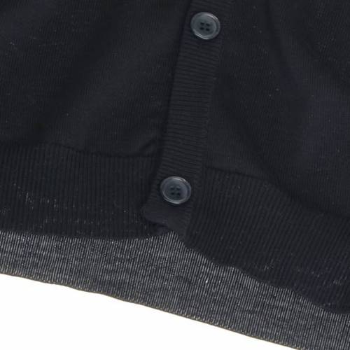 Gilet ouvert avec poches, noir 100% coton s4