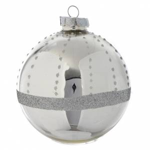 Christmas balls: Glass bauble, silver with glitter, 90mm diameter