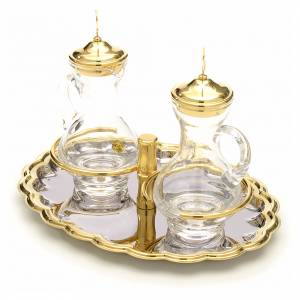 Glass cruet set with nickel and gold-plated brass tray s2
