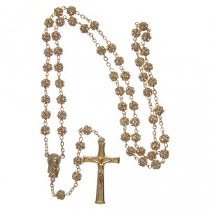 Gold rosary with strass crystal grains 6 mm s4