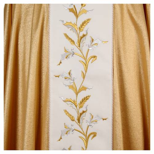 Golden chasuble in pure wool and lurex with wheat embroidery s4