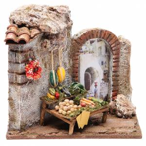 Settings, houses, workshops, wells: Greengrocer shop for nativity 10cm