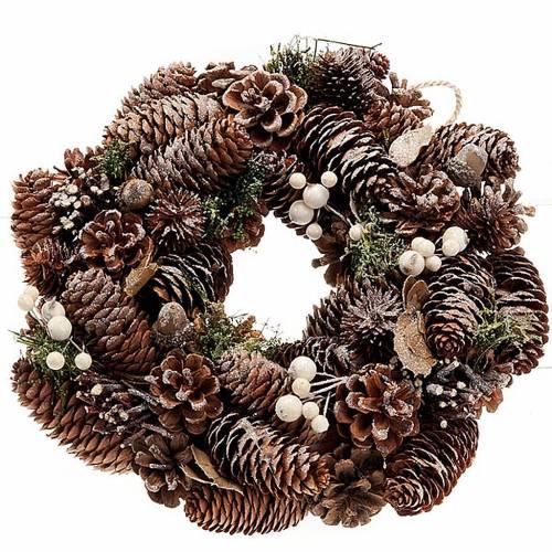 Guirnalda de navidad natural con piñas y muérdago s1