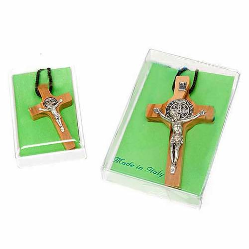 Halskette Kreuz Heilig Benedictus Oliven-Holz s4