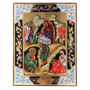 Russische Ikonen auf alter Tafel: Handgemalte russische Ikone Geburt Jesus 19. Jh.