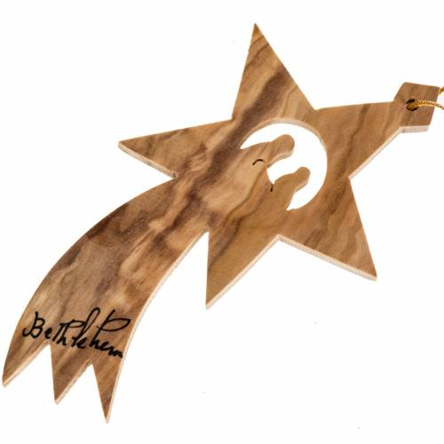Hanging star Bethlehem, olive wood Palestine s1