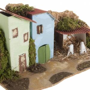 Krippentiere: Haus mit Schafen aus Holz 4cm