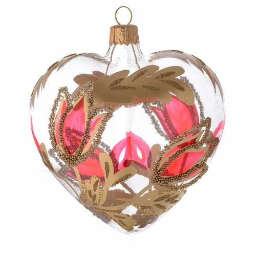Heart Shaped Bauble in blown glass with red and gold decoration in relief 100mm s2