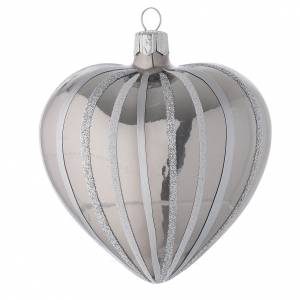 Christmas balls: Heart Shaped Bauble in silver blown glass with stripes 100mm