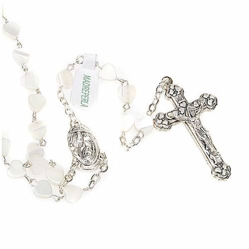 Heart-shaped beads mother of pearl rosary s1