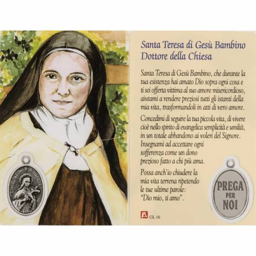 Holy card, image of Mother Teresa with prayer, laminated s1
