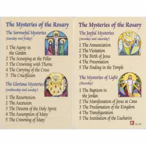 Holy card, Mysteries of the Rosary with prayer in ENGLISH s1