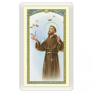 Holy cards: Holy card, Saint Francis and the birds, Canticle of the Sun ITA 10x5 cm