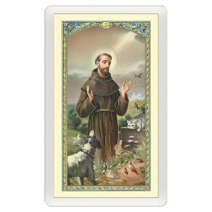 Holy cards: Holy card, Saint Francis and the wolf, Rainbow Bridge ITA, 10x5 cm
