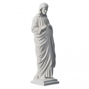 Holy Heart of Jesus in Reconstituted Carrara Marble, 50 cm s2