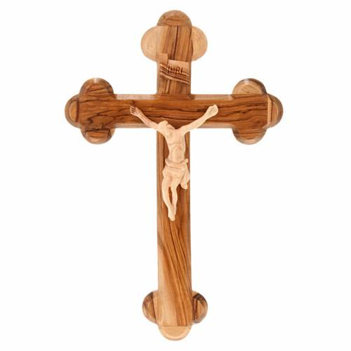 Holy Land Cross in natural olive wood, trefoil, Israel s1