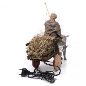 Hombre sobre de una carreta movimiento terracota 14 cm s4