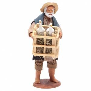 Homme avec cage et oies 14 cm crèche napolitaine s1