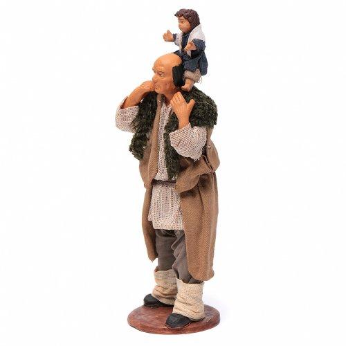 Homme avec enfant sur les épaules crèche 14 cm s2