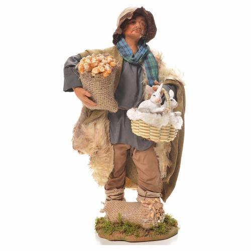 Homme avec lapins dans un panier 24 cm crèche napolitaine s1