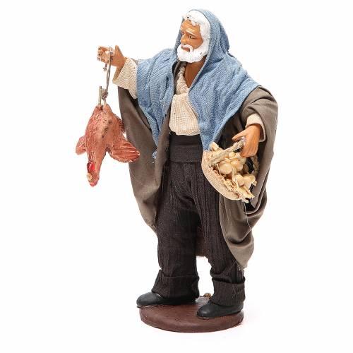 Homme avec poule et panier oeufs 14 cm crèche napolitaine s2