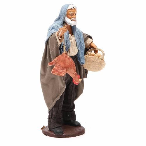 Homme avec poule et panier oeufs 14 cm crèche napolitaine s4