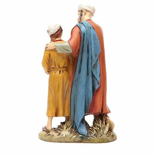 Homme et enfant avec colombe résine peinte 12 cm gamme Martino Landi s2
