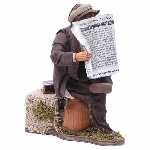 Homme qui lit le journal 24 cm animation crèche napolitaine s3