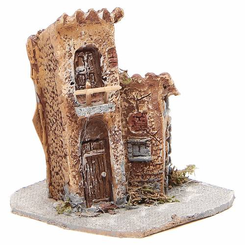 House in wood and resin for nativity scene, 15x12x15cm s3