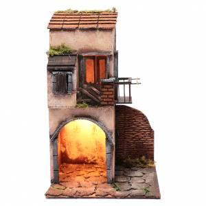 Neapolitan Nativity Scene: House with balcony and hut 40x25x25 cm  Neapolitan nativity scene