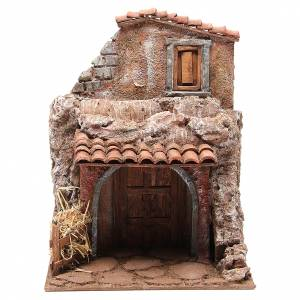House with stable for nativity 30x24x18cm s1