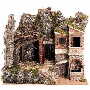 Krippe Hütten und Grotten: Huette Krippe mit Ortschaft 43x25x25 Zentimeter