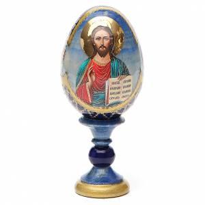 Huevos rusos pintados: Huevo ruso de madera découpage Pantocrator estilo Fabergé altura total 13 cm