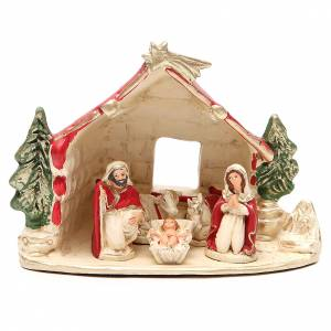 Terracotta Nativity Scene figurines from Deruta: Hut with Nativity red decoration 20x14x18cm