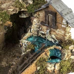 Krippe Hütten und Grotten: Hütte für Krippe mit Brunnen Häuschen Treppe 40x58x38 cm