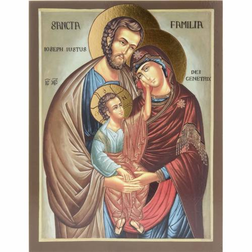 Icon print on wood, Holy Family 26x20cm s1