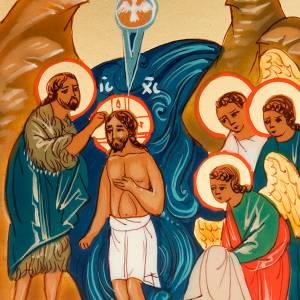 Icona russa Battesimo di Gesù 6x9 dipinta a mano s3