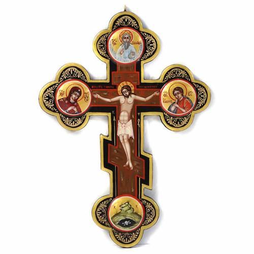 Icona Croce icona dipinta tondi russa s1