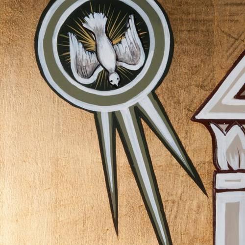 Icona dell'Annunciazione tavola sagomata 120x45 cm s3