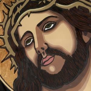 Icona dipinta su vetro Gesù incoronato di spine s2