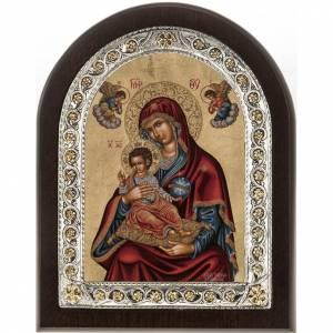 Icona Grecia Madonna con bimbo manto rosso argento 925 s1